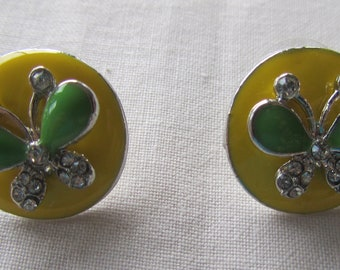 Vintage silver tone yellow enamel pin earrings with butterflies and rhinestones