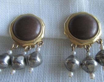 Vintage Liz Claiborne beaded clip on earrings