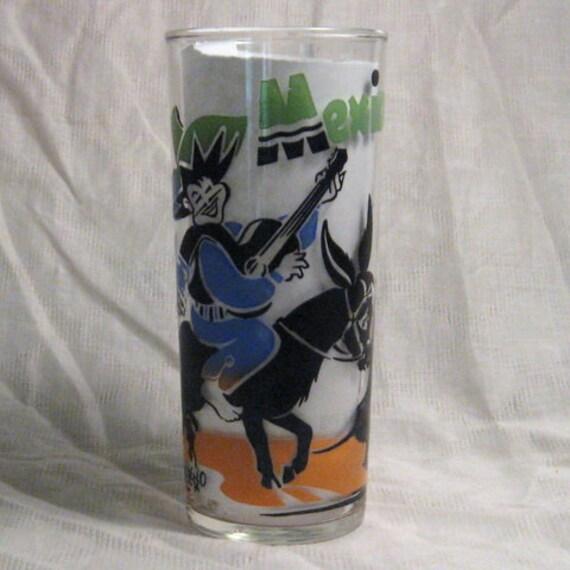 Vintage Mexico Glass Souvenir Gay Caballero Anchor Hocking