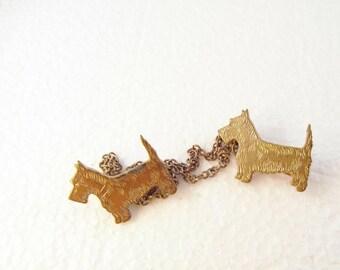 Antique Uncas Double Sweater Pin, Scottie Dogs, C Clasps