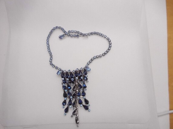 990 Blue Teardrop Rhinestone Earrings /& Necklace Set Adjustable Silver Tone Metal Jewelry Gift Elegant Classic Vintage FREE SHIPPING