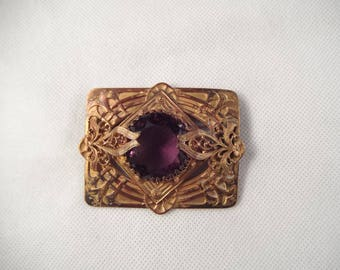Art Nouveau Brooch with Large Purple Glass Cabochon,