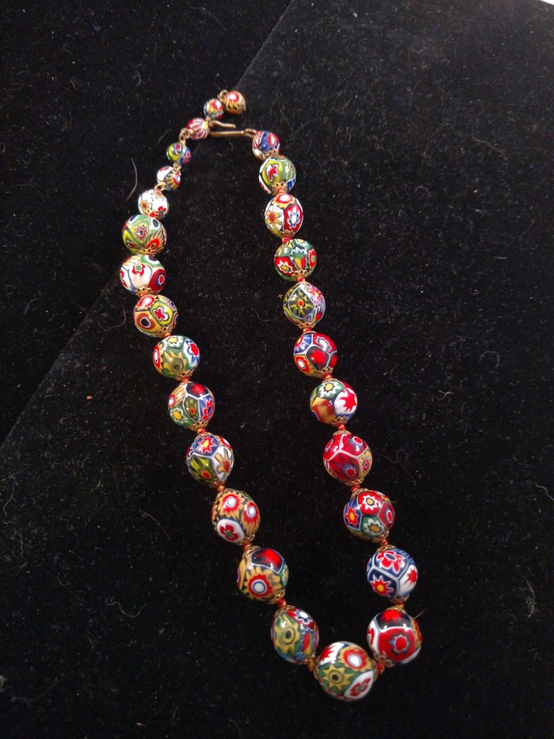 Knottted Venetian Beaded Neckace Colorful with Lots of Reds