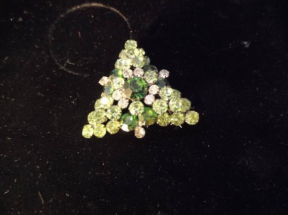 Gorgeous Shades of Green Triangle Layered Rhinesto