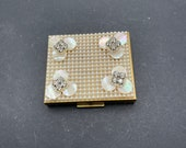 Rectangle Compact, 2.75 x 2.5 Inches, Gold Tone, Layer of Faux Pearls, With MOP Flowers and Clear Rhinestones, Mirror and Puff, Unsigned