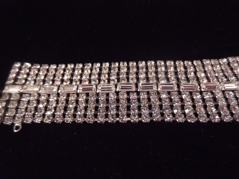 Brilliant Baguette and Round Rhinestones Safety Chain Slide Clasp Silver Tone Metal Wide Clear Rhinestone Bracelet