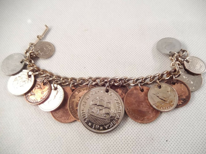 Drilled Coin Bracelet, Variety of Countries, Mostly 1950's to 60's