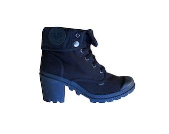 Palladium Boots / Chunky Heel / Black Canvas / Cuffed / Convertible / 9.5 /9 1/2