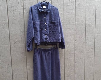 Linen Set / Top and Skirt / Navy Blue / Mill Valley Cotton / Made in USA
