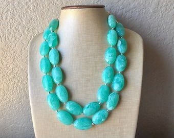 Mint Statement Necklace, Chunky Beaded Necklace, Mint Green Jewelry, Spring Jewelry, green Necklace, mint green beaded necklace, green jewel