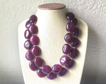 Eggplant Purple Chunky Statement Necklace, Big beaded jewelry, Double Strand Statement Necklace, Bib necklace, bridesmaid wedding, praline