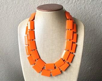 Orange Rectangle Chunky Statement Necklace, Big beaded bib jewelry, Double Strand Statement Necklace, bright orange bridesmaid wedding