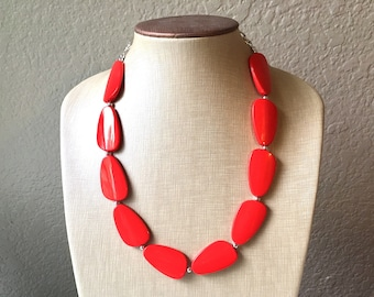 Big Necklace Bead Big Bold Chunky Necklace | Africa Necklace Red Chunky Necklace Red Statement Necklace Black and White Necklace