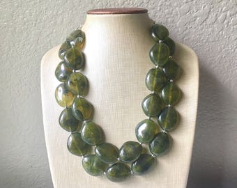 Army Green Chunky Statement Necklace, Big beaded jewelry, Double Strand Statement Necklace, Bib necklace, green bridesmaid wedding, praline