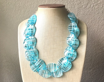 Ice Blue White Statement Jewelry Set, big Beaded Chunky necklace bracelet earrings, Double Strand wedding, bridesmaid necklace, blue earring