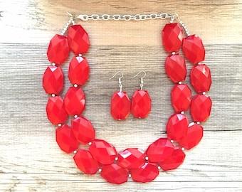 Vintage statement dark red chunky necklace