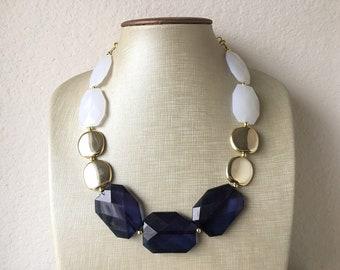 Knotted necklace with bracelet and earrings Nautical white jewelry set Navy blue necklace Tribal jewelry set Summer statement jewelry