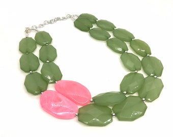 Pink Green Jewelry Etsy