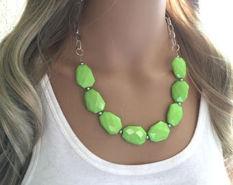 Discount Jewelry Small Statement Necklace Green Floral Necklace Lime Green Jewelry Yellow and Green Flower Necklace Clearance Sale