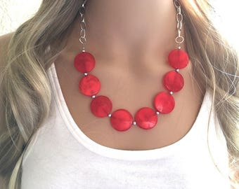 Red Magnesite Necklace Boho Necklace Spike Necklace Winter Necklace Red Necklace Statement Necklace Christmas Necklace Holiday