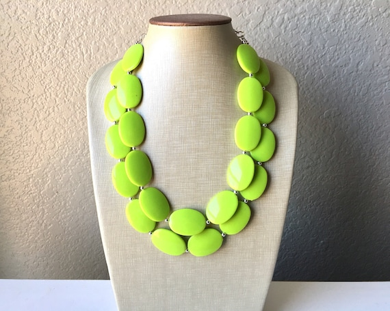 Turquoise necklace statement Lime green necklace Turquoise green necklace Fashion chunky turquoise necklace UK Green statement necklace