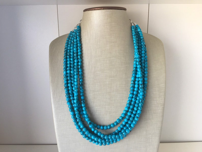 Chunky Bib white and Teal Multi-Strand Jewelry Light blue swirl beads ocean side Black 5 strand Beaded Statement Necklace Teal Blue