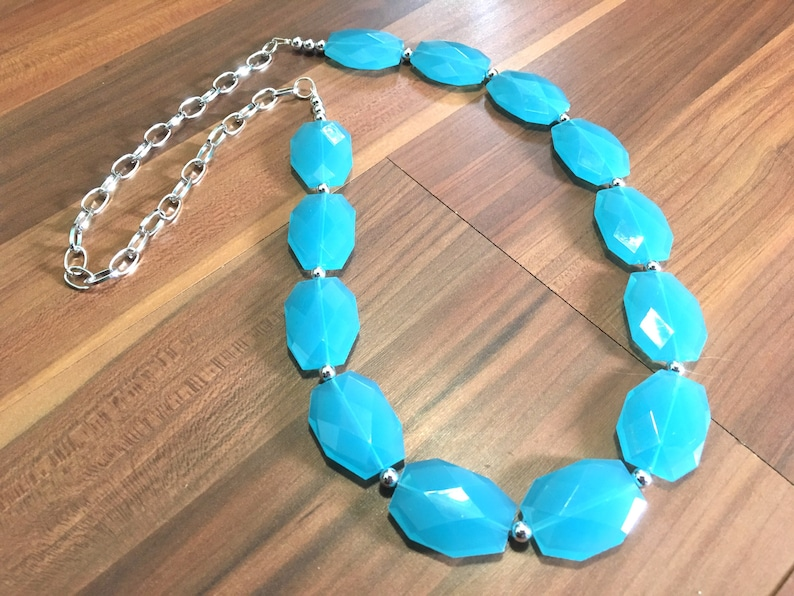 single Strand Statement Jewelry pool carribbean Chunky bib bridesmaid or everyday bubble jewelry Long Big Bead light Blue Necklace