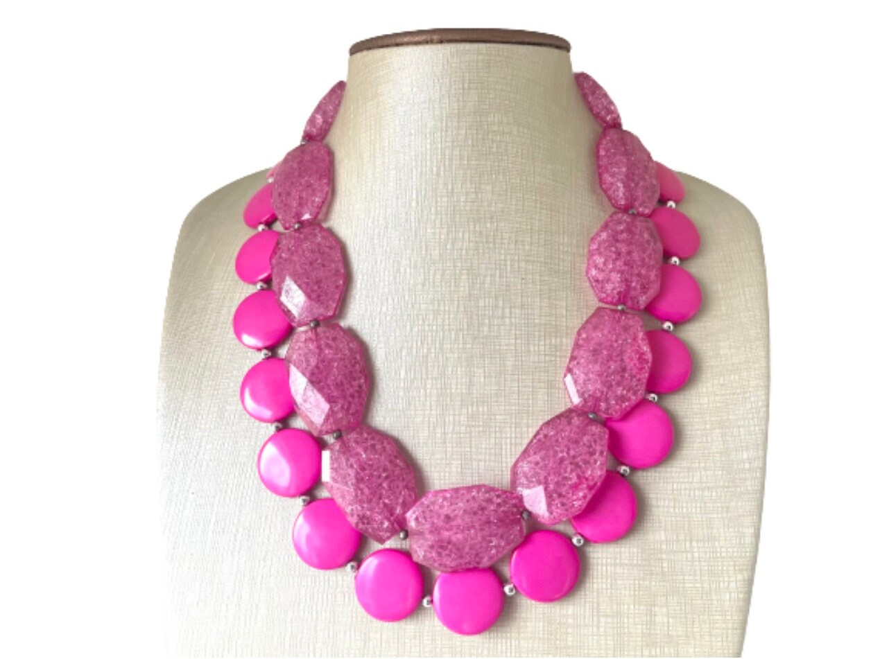 big magenta beads beaded necklace pink statement jewelry, Chunky hot  pink statement necklace,multi strand statement pink necklace