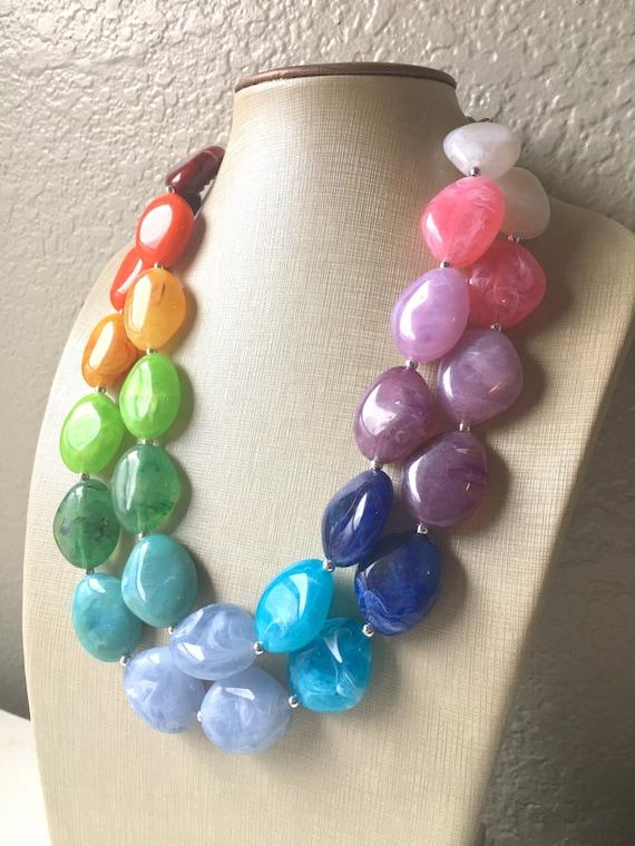 Fiesta Rainbow Beaded Necklace rainbow jewelry Chunky statement necklace big beaded necklace Colorful Jewelry rainbow baby