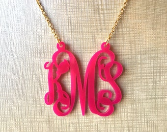 Dark Pink Script Monogram Acrylic Necklace - Personalized silver or gold Nameplate Custom initial name 3 letter, Gifts for her, southern