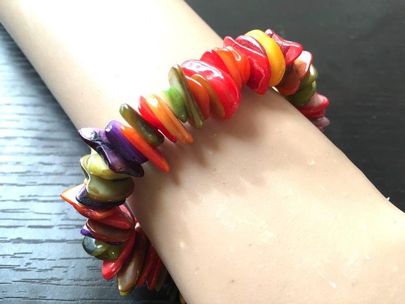shell stretch bracelet multi color beaded rainbow bracelet rainbow beaded jewelry stretch bracelet Rainbow Beaded Statement bracelet