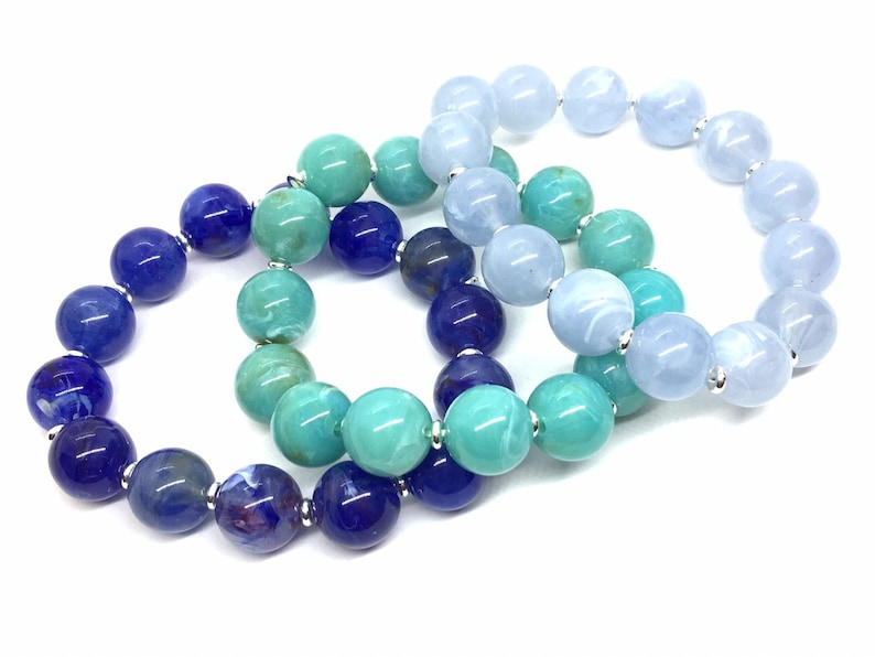set 3 stretchy bracelet Colorful stretch rainbow bracelets bubble  royal sky blue green jewelry arm stacking wrap beaded silver jewelry
