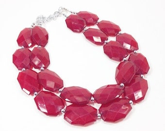 Marsala Necklace - Double strand deep red jewelry - big beaded chunky  statement necklace