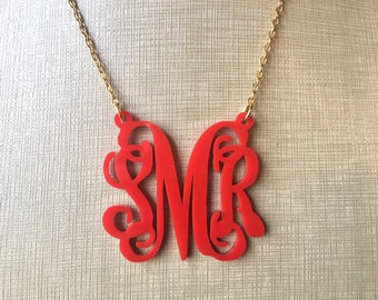 Red Script Monogram Acrylic Necklace - Personalized silver or gold Nameplate Custom initial name 3 letter, Gifts for her, southern