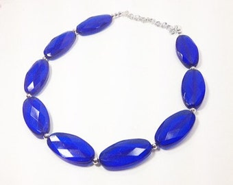 Chunky Royal Blue Big Beaded Long Statement Necklace