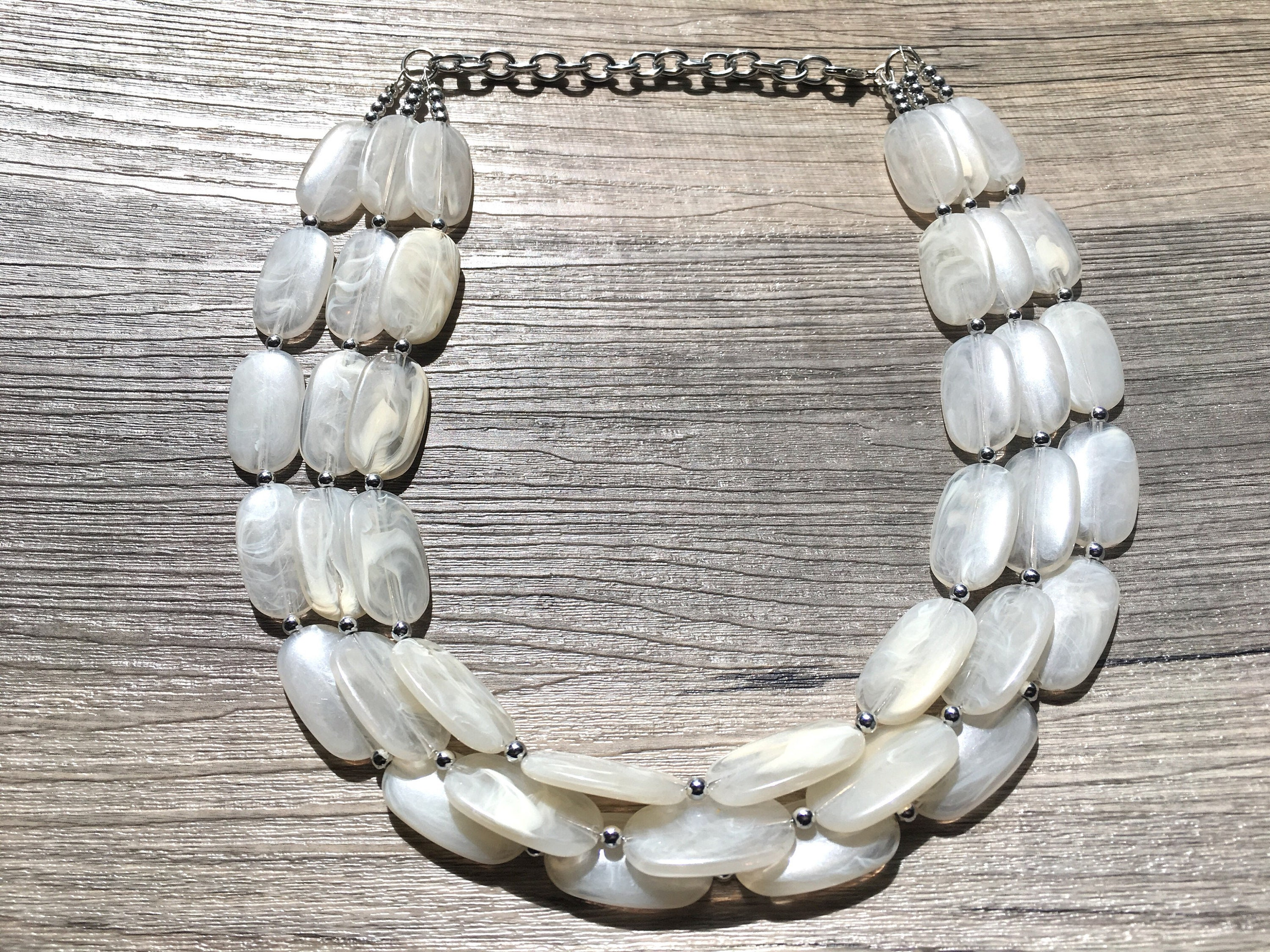 Cream big bead necklace multi strand statement jewelry cream etsy