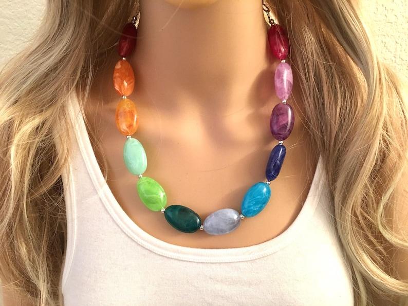 Rainbow Beaded Necklace Chunky statement necklace Colorful Jewelry rainbow jewelry baby big beaded necklace color block necklace