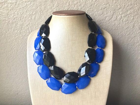 Black Big Bead Necklace multi Strand Statement Jewelry black jewelry beaded jewelry black Chunky bib bridesmaid necklace