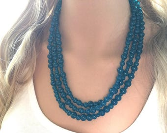 Teal Triple Layer Statement Necklace, turquoise chunky necklace, statement bib necklace jewelry, blue jewerly, glass beaded jewelry
