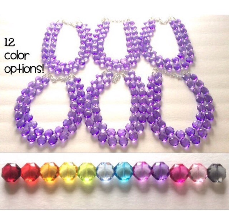 Multi Color Acrylic Faceted Chunky Statement Bib Necklaces Jewelry Sets Wedding choice of 12 colors Set of 6 Bridesmaid Necklaces