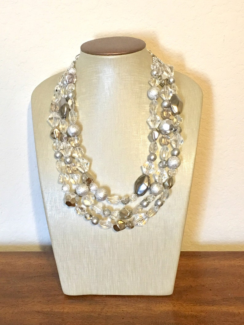 silver Beaded Holiday Necklace resin necklace Silver and Clear statement necklace lucite necklace clear three strand chunky jewelry