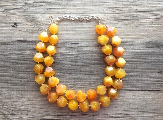 Bib necklace Firey Marigold Chunky Statement Necklace yellow bridesmaid wedding red orange Statement Necklace Big beaded jewelry