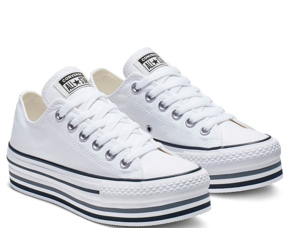 White Black Converse Super Lift Platform layer W US 8.5 Canvas Low Club w/ Swarovski Crystal Rhinestone Chuck Taylor All Star Sneakers Shoes