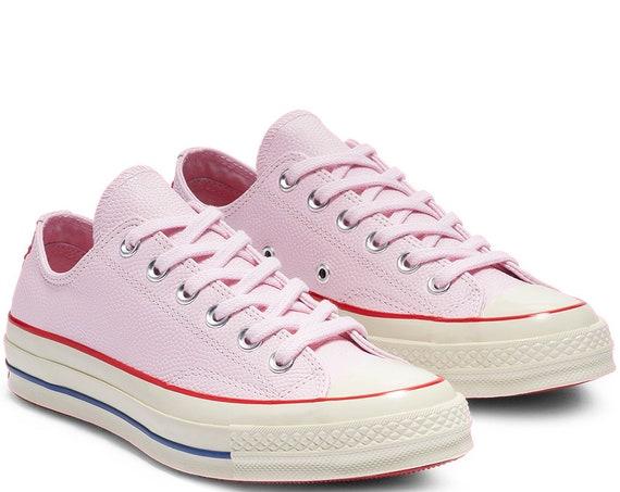 Pink Converse Leather Foam Red Low Top Chuck Taylor All Star Custom w/ Swarovski Crystal Wedding Kicks Bride Sneakers Shoes