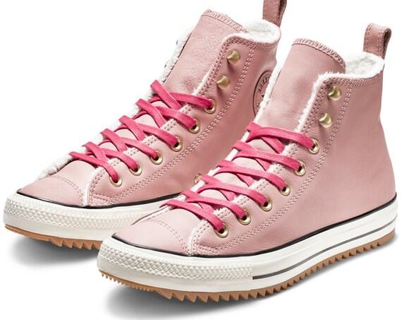 Pink Sheerling Wool Fur Converse High Top Winter Boot Wedding Chuck Taylor w/ Custom Swarovski Crystal Bling All Star Bride Sneakers Shoes