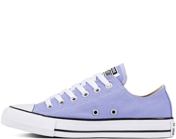 Lilac Converse Low Top Twilight Robin Egg Blue Periwinkle Canvas w/ Swarovski Crystal Chuck Taylor Rhinestone All Star Wedding Sneakers Shoe