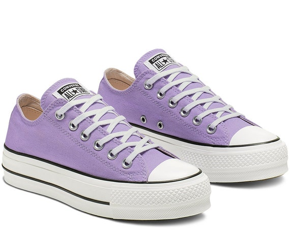 Purple Lilac Converse Platform heels wedge Classic Lift Canvas Low Top Club w/ Swarovski Crystal Chuck Taylor All Star Wedding Sneakers Shoe