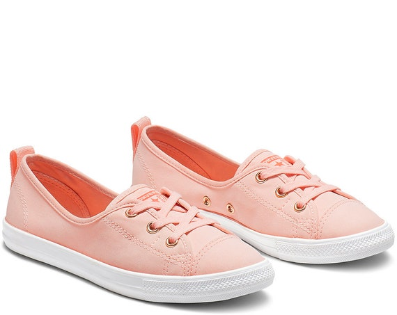 Apricot Peach Converse Coral Palms Rose Gold Low Top Slip On Ballet Lace Pink Bridal w/ Swarovski Crystal Chuck Taylor Wedding Sneaker Shoe