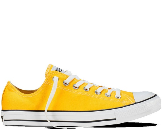 Yellow Converse Low Top Men Lady Summer Lemon w/ Swarovski Crystal Rhinestone Bling Wedding Kicks Chuck Taylor All Star Bridal Sneakers Shoe