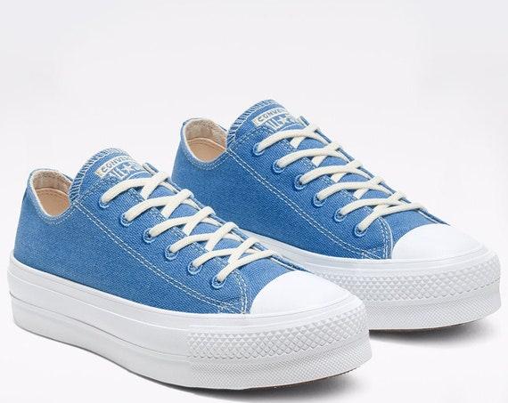 "Blue Converse 1.5"" Platform lift wedge Coast Ocean Sea Canvas Low Club w/ Swarovski Crystal Rhinestone Chuck All Star Wedding Sneakers Shoes"